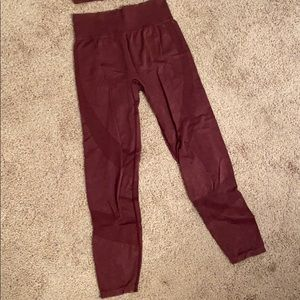 Maroon/burgundy Seamless Workout Tights/Leggings